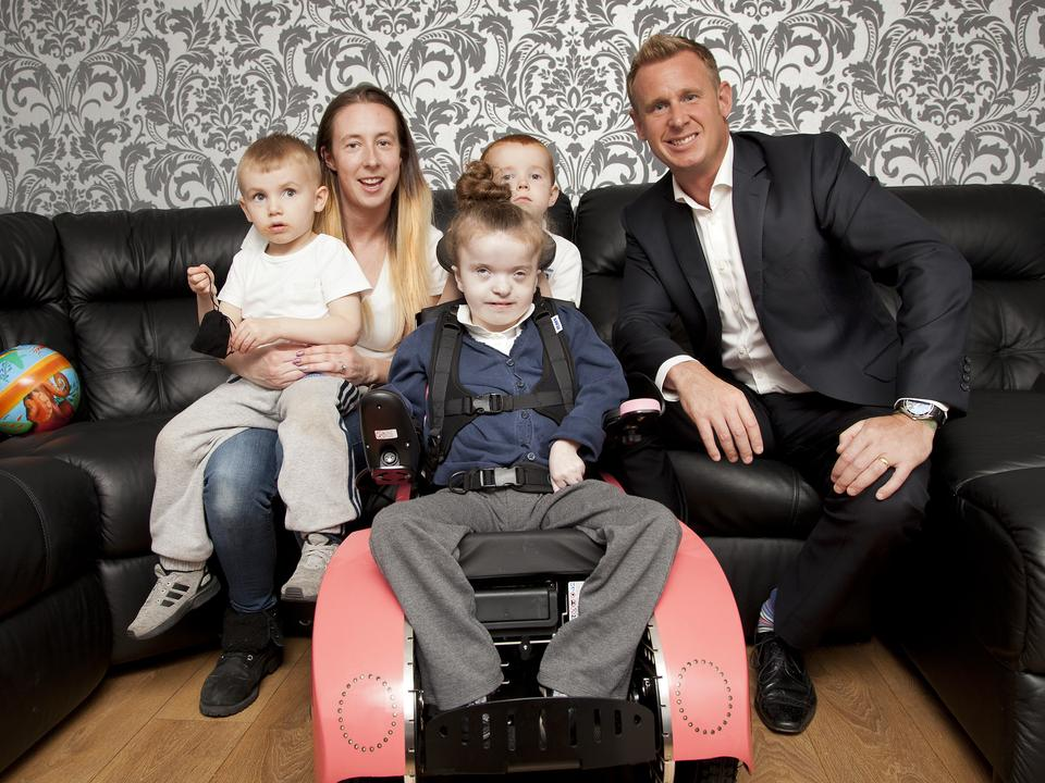 8-year-old Lilly-Ann gets her Tiny Trax chair and a new lease of life
